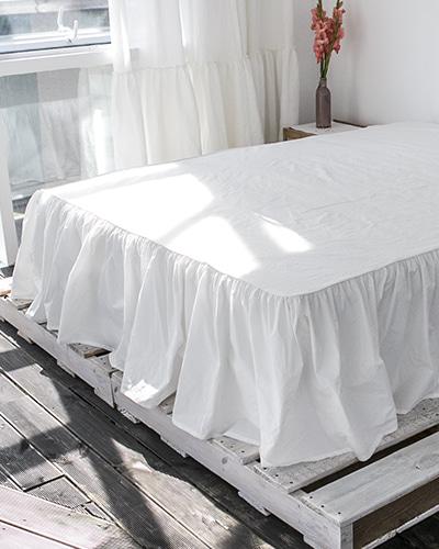 자연염색 침대 베드스커트 화이트